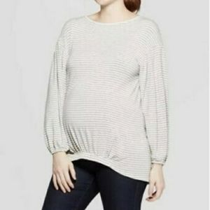 Isabel Maternity Stripes Long Sleeves Shirt Size L